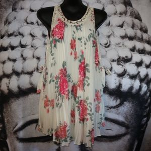 FREE PEOPLE FLORAL LACE SLEEVELESS TUNIC DRESS SM